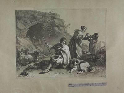 Pastorello seduto e donna che dà da bere a un bimbo