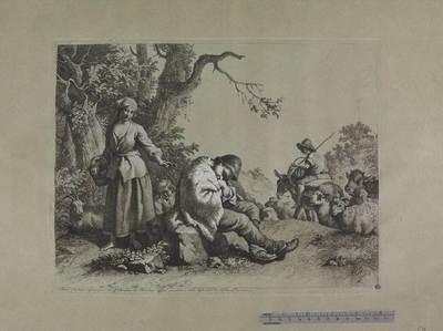 Pastorello dormiente, donna, bambino e pastore