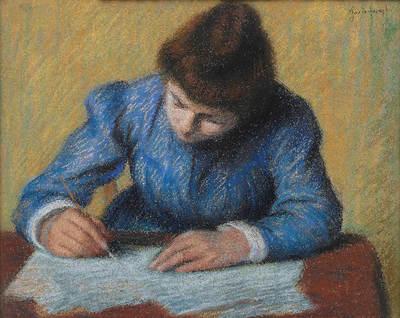 Il compito - Petit fille écrivant