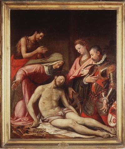 compianto sul Cristo morto con San Giovanni Battista, Santa Caterina d'Alessandria, Ernando Sastri di Spagna