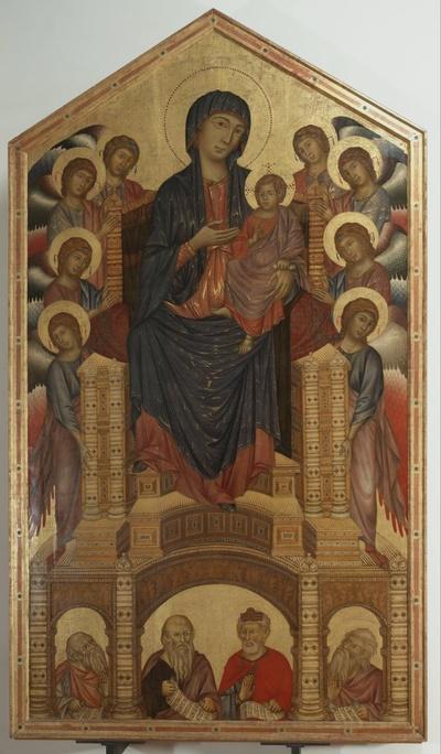 Madonna con Bambino in trono con angeli e profeti