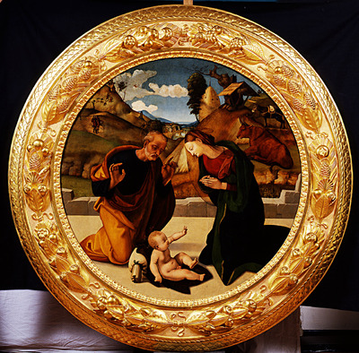 Madonna e San Giuseppe in adorazione di Gesù Bambino, annuncio ai pastori