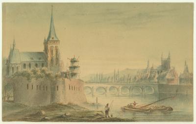 Maastricht. Sint Servaasbrug, Sint Martinuskerk en kruittoren. Vanuit het noordoosten.