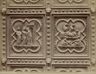 De Bezoeking en de Geboorte van Johannes-de-Doper fragmenten van de bronzen deur