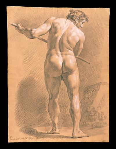 Desnudo masculino de espaldas y en pie sosteniendo una pértiga horizontalmente