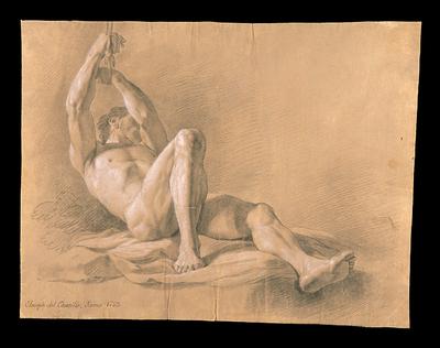 Desnudo masculino tendido en el suelo con las manos atadas