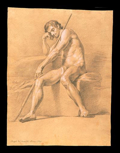 Desnudo masculino sentado y dormido con una vara sobre el hombro