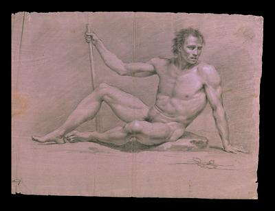Desnudo masculino recostado en el suelo con una vara en la mano derecha