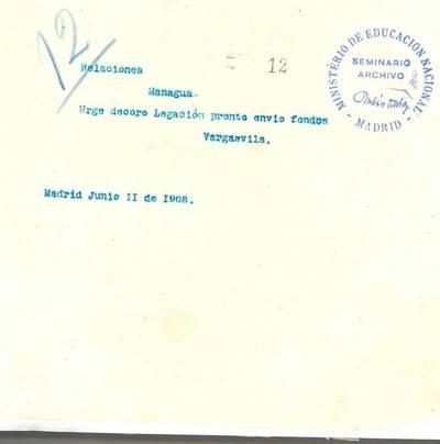 Telegrama de VARGAS VILA, José María a Ministro de Relaciones Exteriores en Managua