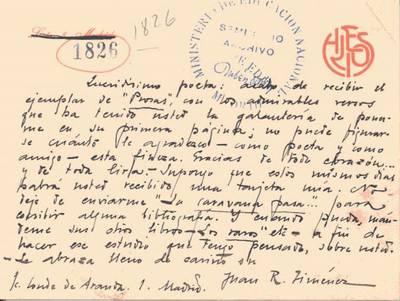 Carta de Jiménez, Juan Ramón