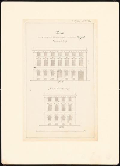 Image from object titled Potsdamer Bürgerhäuser. Bauaufnahmen (sog. Ziller-Mappe) um 1850. Wohnhaus Französische Straße No. 24 (Baujahr 1781)