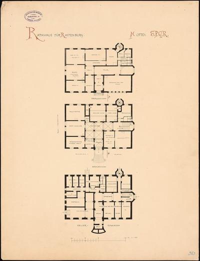 Image from object titled Rathaus Rastenburg. Monatskonkurrenz Juni 1884 (nicht die Originalzeichnung)
