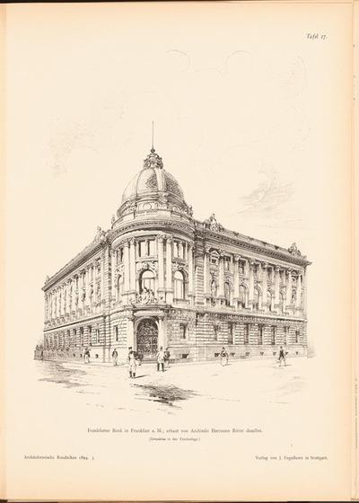 Frankfurter Bank, Frankfurt/Main. (Aus: Architekt. Rundschau, hrsg.v. Eisenlohr & Weigle, 1894)