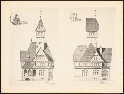 Udkast til en Villa. (Aus: Drucke von Seminararbeiten der Königlich Technischen Hochschule Berlin, Bd. II)