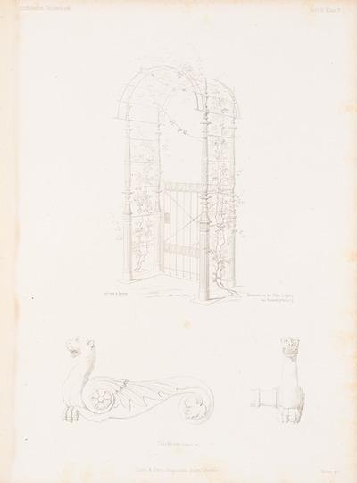 Gartentür der Villa Liegnitz, Potsdam. (Aus: Architektonisches Skizzenbuch, H. 3, 1852.)