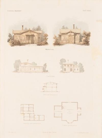 Wärterhaus. Familienhaus. (Aus: Architektonisches Skizzenbuch, H. 4, 1852.)