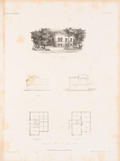 Kleines Landhaus. (Aus: Architektonisches Skizzenbuch, H. 4, 1852.)