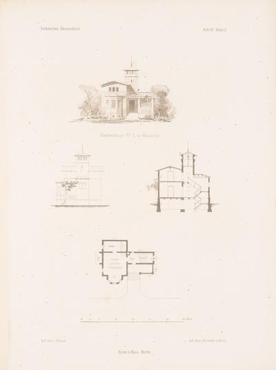 Portierhaus Nr. 3, Glienicke. (Aus: Architektonisches Skizzenbuch, H. 7, 1853.)