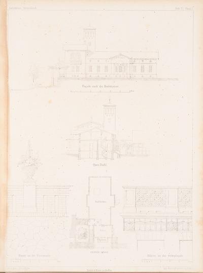 Wohnhaus für den Direktor der Landesbaumschule, Geltow. (Aus: Architektonisches Skizzenbuch, H. 15, 1854.)