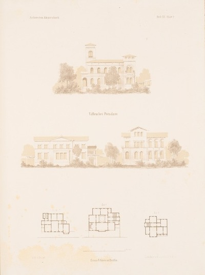 Villen, Potsdam. (Aus: Architektonisches Skizzenbuch, H. 19, 1855.)