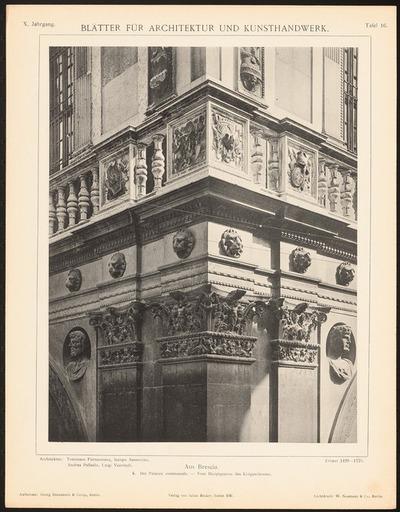 Palazzo communale, Brescia. (Aus: Blätter für Architektur und Kunsthandwerk, 10. Jg., 1897, Tafel 16.)