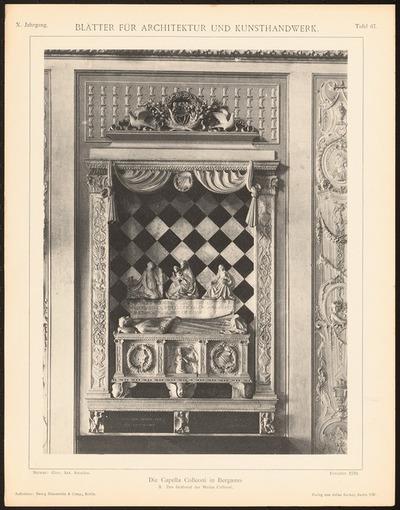 Capella Colleoni, Bergamo. (Aus: Blätter für Architektur und Kunsthandwerk, 10. Jg., 1897, Tafel 67.)