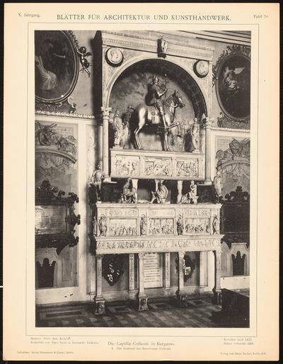 Capella Colleoni, Bergamo. (Aus: Blätter für Architektur und Kunsthandwerk, 10. Jg., 1897, Tafel 78.)