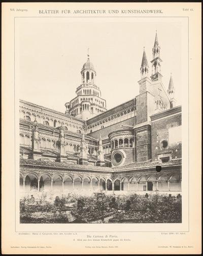 Kloster Certosa di Pavia. (Aus: Blätter für Architektur und Kunsthandwerk, 12. Jg., 1899, Tafel 43.)