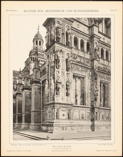 Kloster Certosa di Pavia. (Aus: Blätter für Architektur und Kunsthandwerk, 12. Jg., 1899, Tafel 63.)