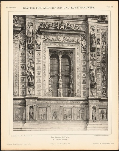 Kloster Certosa di Pavia. (Aus: Blätter für Architektur und Kunsthandwerk, 12. Jg., 1899, Tafel 64.)