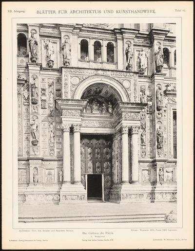 Kloster Certosa di Pavia. (Aus: Blätter für Architektur und Kunsthandwerk, 12. Jg., 1899, Tafel 82.)