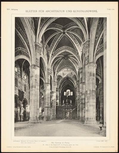 Kloster Certosa di Pavia. (Aus: Blätter für Architektur und Kunsthandwerk, 12. Jg., 1901, Tafel 114.)