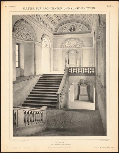 Universität, Pavia. (Aus: Blätter für Architektur und Kunsthandwerk, 15. Jg., 1902, Tafel 30.)