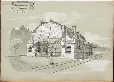 Image from object titled Überdachung von U-Bahnein- und ausgängen in Berlin. Monatskonkurrenz Februar 1903
