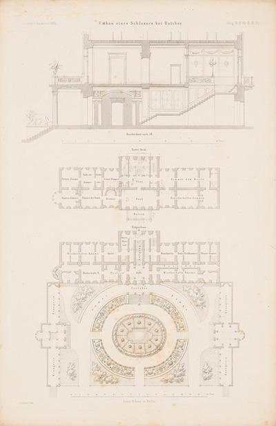 Schloss, Ratibor. (Aus: Atlas zur Zeitschrift für Bauwesen, hrsg. v. G. Erbkam, Jg. 6, 1856.)