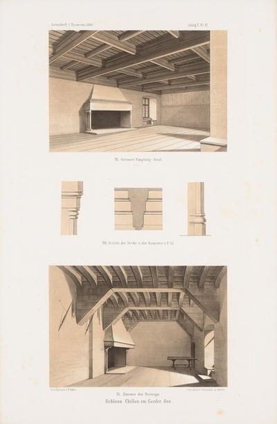 Schloss Chillon am Genfer See, Montreux. (Aus: Atlas zur Zeitschrift für Bauwesen, hrsg. v. G. Erbkam, Jg. 10, 1860.)