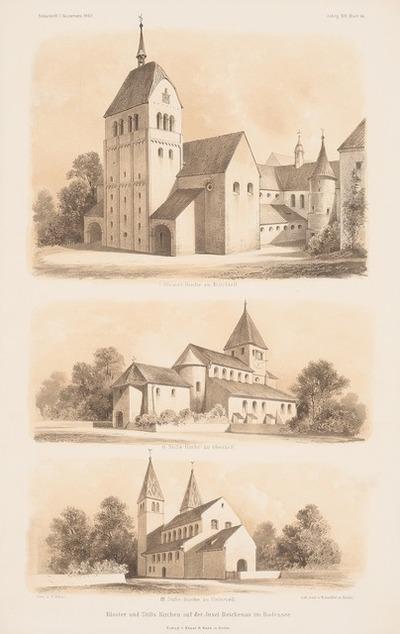Klosterkirche Mittelzell, St. Georg, Oberzell, Stiftskirche Unterzell, Reichenau. (Aus: Atlas zur Zeitschrift für Bauwesen, hrsg. v. G. Erbkam, Jg. 19, 1869.)