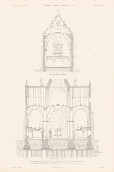 Elisabeth-Kirche, Wilhelmshaven. (Aus: Atlas zur Zeitschrift für Bauwesen, hrsg. v. G. Erbkam, Jg. 24, 1874.)