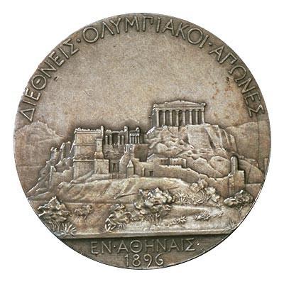 Image from object titled Medaille winnaar, zilver, replica, van de eerste moderne Olympiade in 1896 in Athene