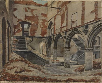 Image from object titled Zicht op de Lakenhal in Leuven in 1915