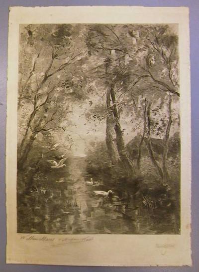 Willem Maris, Landschap, s.d., pentekening op papier.