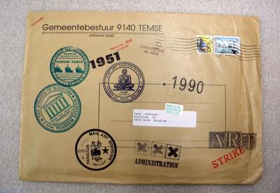 Guy Bleus (°1950), mail art met catalogus en folders van project 'Ponton Temse', 1990.