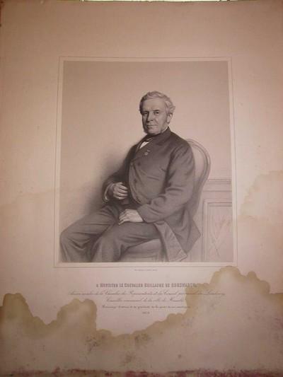 Joseph Schubert (1815-1885) lithograaf, Simonau & Toovey drukker, Portret van Guillaume de Corswarem (1799-1884), 1872, lithografie.