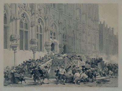 De gevolgen van de Spaanse furie vóór de pui van het Leuvense stadhuis