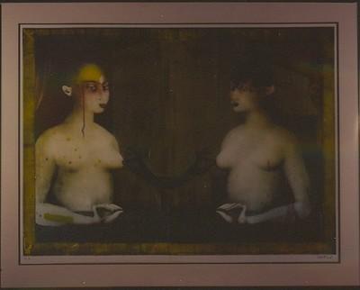 """Paul Wunderlich, """"Die Schwestern"""" - De Gezusters, s.d., papier, lithografie."""
