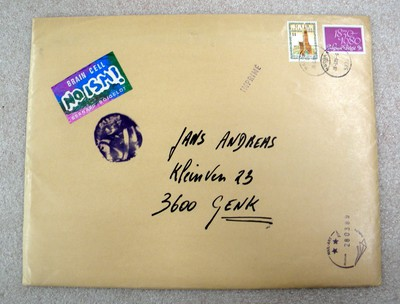 Guy Bleus (°1950), mail art-pakket met catalogus Bernard Boigelot aan Andreas Jans (1989/03/28), s.d.