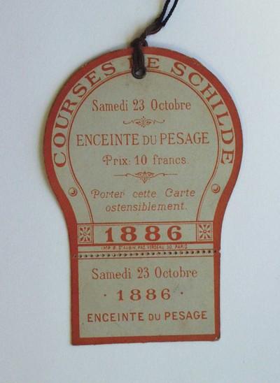Image from object titled Courses de Schilde. Samedi 23 octobre 1886. Enceinte du pesage. Prix 10 francs