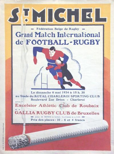 Image from object titled Grand Match International de Football - Rugby entre l'Exelsior Athlétique Club de Roubaix et le Gallia Rugby Club de Bruxelles, le dimanche 6 mai 1934, Bruxelles-Forest