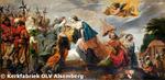 De Heilige Elisabeth komt naar Brabant bij hertogin Maria, aan wie de volgende nacht geopenbaard wordt dat O.-L.-Vrouw een kerk te Alsemberg wil.