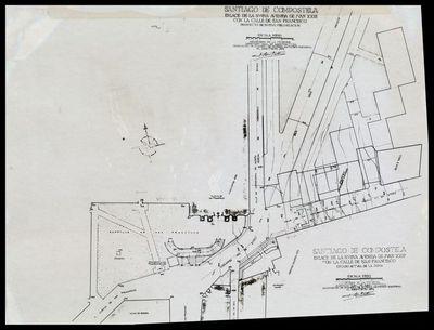 Image from object titled Plano do proxecto de urbanización do enlace da nova avenida de Xoán XXIII coa rúa de San Francisco (Santiago de Compostela)